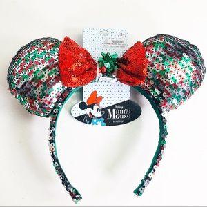 Disney Minnie Mouse Xmas Sequin Headband Ears NWT